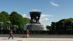 Fountain in Vigeland sculpture park Oslo Norway Stock Footage
