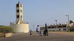Religious Family In Tel Aviv Port - stock footage