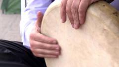 Man playing the eastern tambourine closeup - stock footage