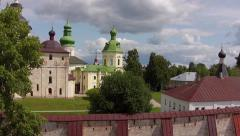 Flying over the lake and St. Cyril- Belozersky Monastery , Kirillov , Russia Stock Footage
