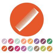 The comb icon. Barbershop symbol. Flat - stock illustration
