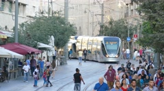Lively Street with Tram (slow motion) - stock footage