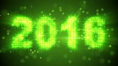 New year 2016 greeting glowing green particles loop Stock Footage