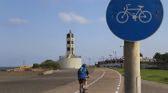Bicycle and jogging routes in Tel Aviv Stock Footage