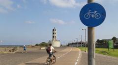 Bicycle route at Tel Aviv-Jaffa Promenade Stock Footage