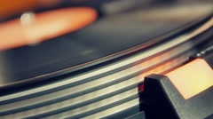 Old  vinyl record playing close up Stock Footage