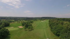 Golf course and club house from above filmed by a drone Stock Footage