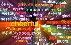 Cheerful multilanguage wordcloud background concept glowing Stock Illustration