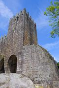 Guimaraes castle detail, in the north of Portugal. - stock photo