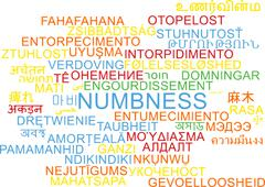 Numbness multilanguage wordcloud background concept Stock Illustration
