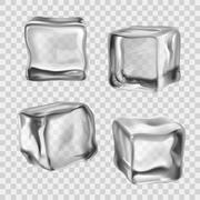 Ice Cubes Transparent Stock Illustration