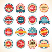 Vintage Premium Quality Color Badges - stock illustration