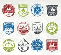 Mountain Adventure Stamps Stock Illustration