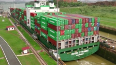 Freighter Boat Ship Containers Global Commerce Worldwide Panama Canal - stock footage