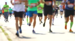 Blurred mass of a people, marathon runners Stock Footage
