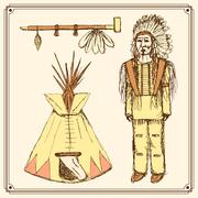 Sketch native american set in vintage style - stock illustration