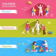 Children Banner Set Stock Illustration