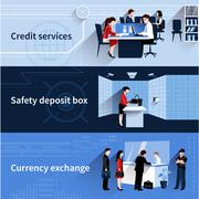 Bank People Banners - stock illustration