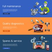 Car Repair Cartoon Banners Set - stock illustration