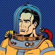 Manly man astronaut in a spacesuit Stock Illustration