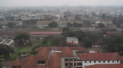 Stock Video Footage of View of Nairobi skyline from high building, pan right
