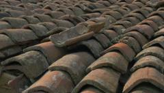 Roofing material made of clay 4K 2160p UHD panning  footage - Roof top tiles Stock Footage