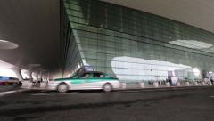 Taxi driving in Hangzhou railway station Stock Footage