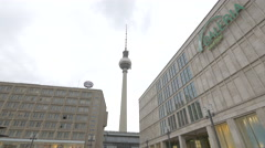 Berlin TV Tower as seen from Alexanderplatz in Berlin Stock Footage