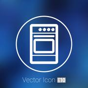 Stove icon fuel hob meal electric blaze plate kitchen Stock Illustration