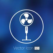 Wind turbine icon vector sign cooler rotation Stock Illustration