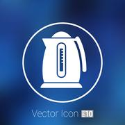 Electric kettle icon kitchen vector preparation illustration - stock illustration
