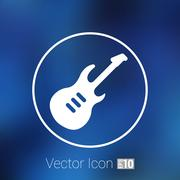 Guitar icon with long shadow melody electric Stock Illustration
