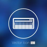 Black synthesizer keyboard piano music icon vector Stock Illustration