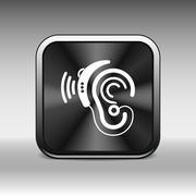 Ear vector icon hearing aid ear listen sound graphics Stock Illustration