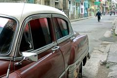 Havana, Cuba, old-timer in the street in the center - stock photo