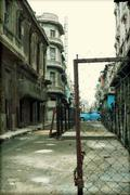 Havana, Cuba, street in the center and a blue car Stock Photos