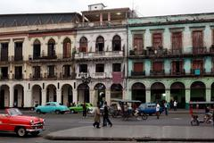 Havana, Cuba, every day life in the old town, cars and people - stock photo