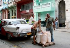 Havana, Cuba, young men selling beans on the street - stock photo