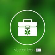 First aid vector icon kit medical box cross symbol - stock illustration