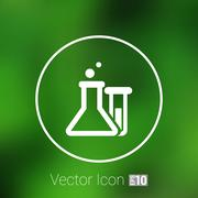 Chemical flask icon laboratory glass beaker lab vector - stock illustration