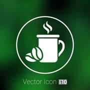 Coffee cup vector logo design template. Cafe shop emblem Stock Illustration