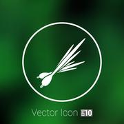 Vector isolated  young green onions and leeks triangles - stock illustration