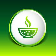 Bowl of Hot Soup with spoon Line Art. Icon isolated - stock illustration