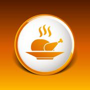 Stock Illustration of chicken grill icon logo hot meal cooking