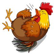 Chicken hen laughing on floor - stock illustration