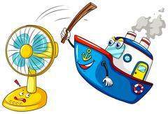 Ship hitting a fan - stock illustration