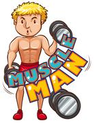 Muscle man with athlete Stock Illustration