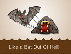 Like a bat out of hell with text idiom Stock Illustration