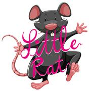 Litte rat idiom with text - stock illustration