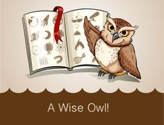 Wise owl and science book - stock illustration